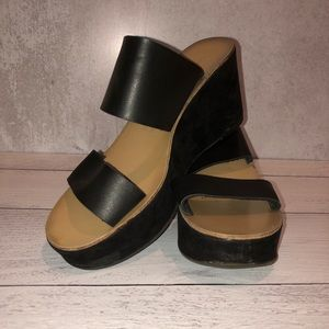 Chinese Laundry   Black, Leather Strap Wedges